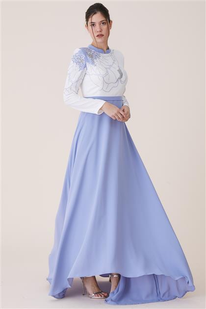 Dijital Baskılı Elbise-Lila 19Y8223-49