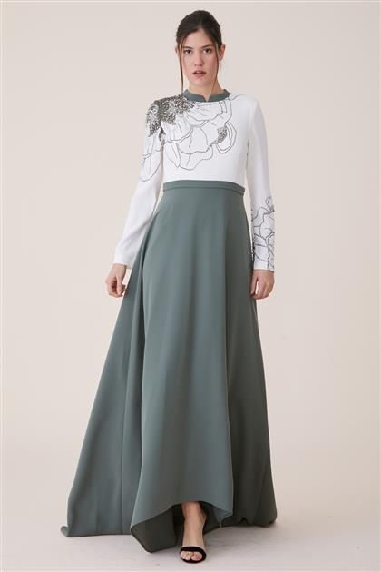 Dijital Baskılı Elbise-Haki 19Y8223-27