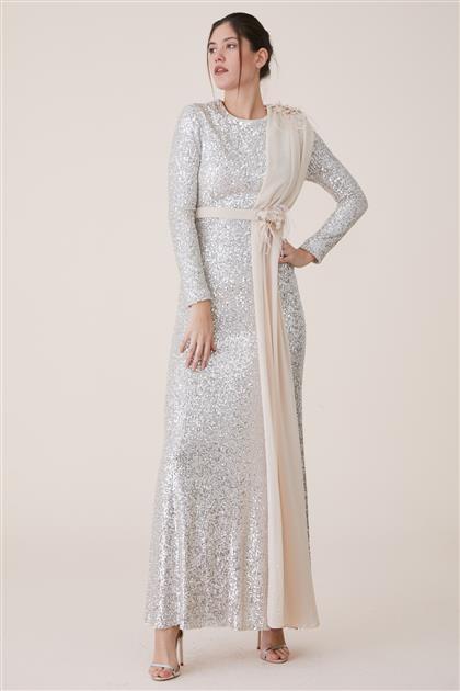 Omuzu Yakası Güllü Elbise-Bej 19Y700-11
