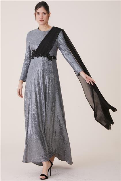 Şifon Omuzu Şallı Elbise-Gümüş 19Y488-06