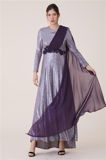 Şifon Omuzu Şallı Elbise-Mor 19Y488-45