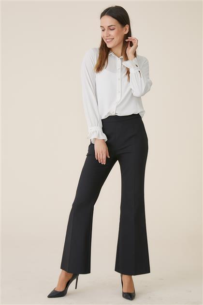 İspanyol Paça Pantolon-Siyah TK-U3605-9