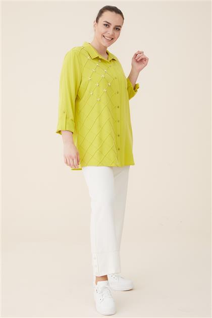 Büyük Beden İncili Tensel Gömlek-Fıstık Yeşili 3154-23