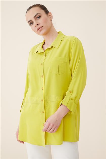 Büyük Beden Yakası Ve Bedeni Taşlı Tencel Bluz-Fıstık Yeşili 3026-23