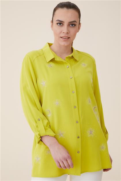 Büyük Beden Yildiz Nakışlı Gömlek-Yeşil 3166-21