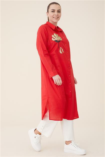 Büyük Beden Tunik-Kırmızı 5025-34