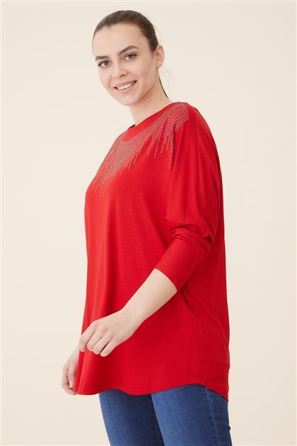 Büyük Beden Yarasa Kol Penye Bluz-Kırmızı 4022-34