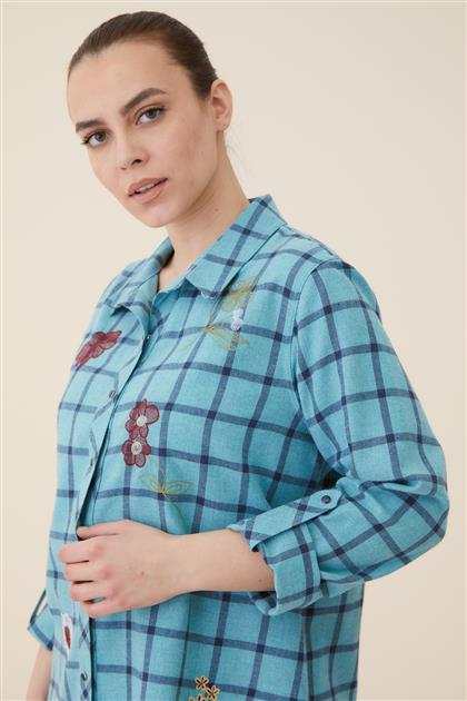 Büyük Beden Nakışlı Ekose Gömlek-Turkuaz 4001-19