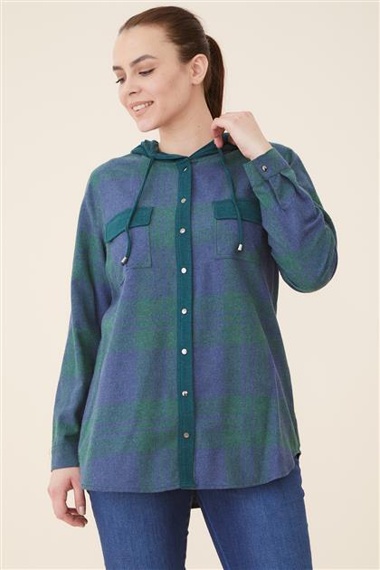 Büyük Beden Ekose Kapişonlu Bluz-Yeşil 2106-21