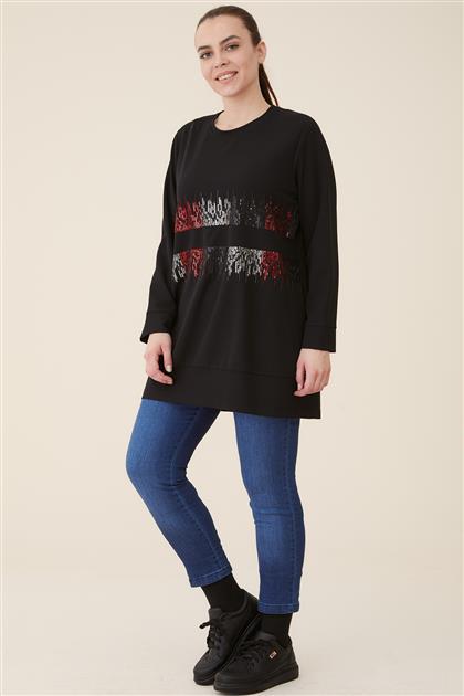Büyük Beden Çiçek Nakışlı Etek Altı Bantlı Bluz-Siyah 4012-01