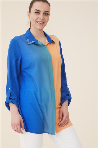 Büyük Beden Batik Baskılı Gömlek-Saks 1124-47