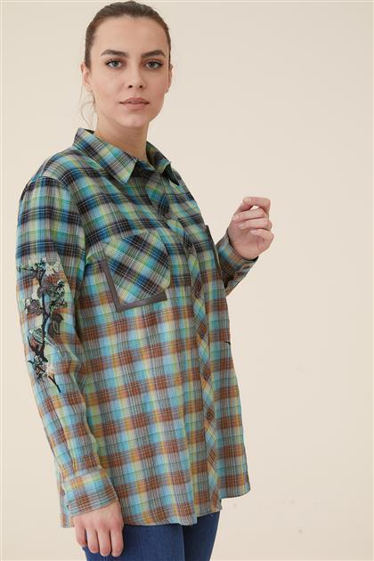 Büyük Beden Nakışlı Ekose Gömlek-Yeşil 8164-21