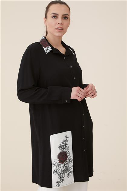 Büyük Beden Yakası Baskılı Tunik-Siyah 2008-01