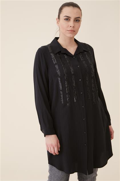 Büyük Beden Pul Nakışlı Manşetli Gömlek-Siyah 4032-01