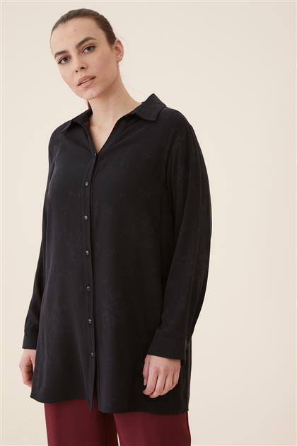Büyük Beden Manşetli Desenli Gömlek-Siyah 4031-01