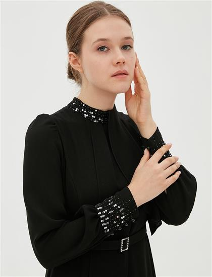 Pul Payet Detaylı Kemerli Şifon Elbise Siyah B20 23032