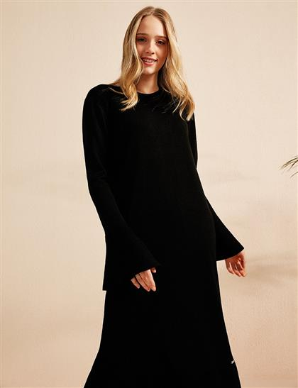 Volanlı Uzun Triko Elbise Siyah B20 TRK02