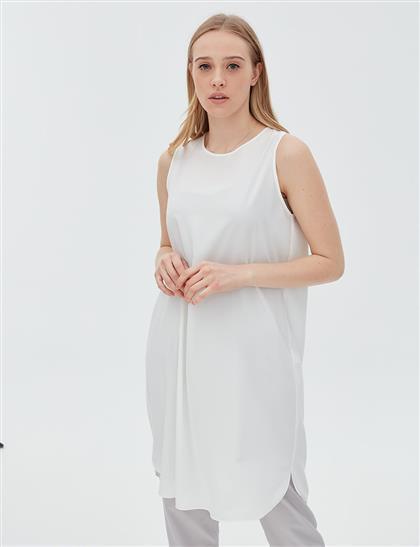 Basic Kolsuz Uzun Bluz Ekru SZ 10503