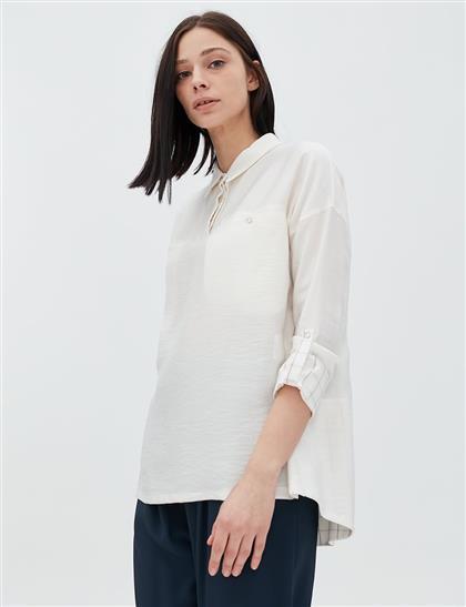 Kolları Katlanabilir Gömlek Yaka Bluz Optik Beyaz B20 21061