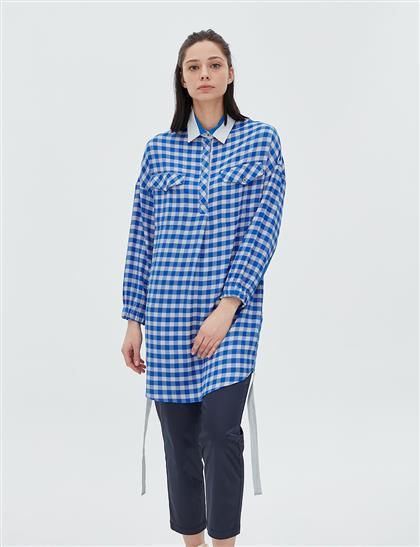 Çift Cepli Kareli Tunik Mavi B20 21063