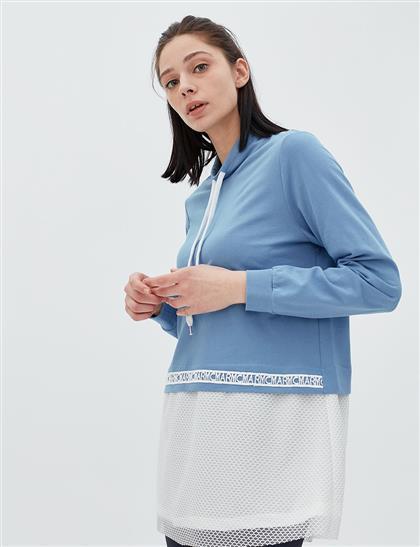 KYR File Detaylı Bluz Mavi B20 70003