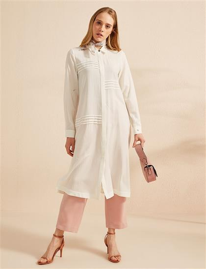 KYR Gizli Patlı Uzun Tunik Optik Beyaz B20 81015