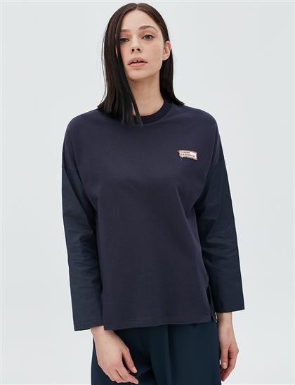 Kumaş Kombinli Bluz Lacivert B20 10047