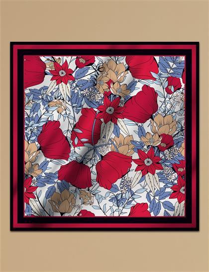 Çiçek Desenli Twill İpek Eşarp Kırmızı A9 ESP10