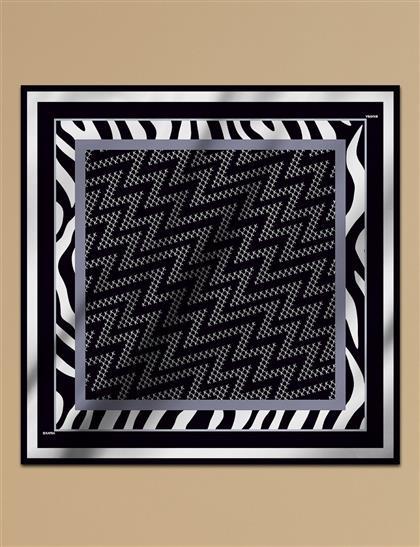 Geometrik Desen Twill İpek Eşarp A9 ESP07 Siyah