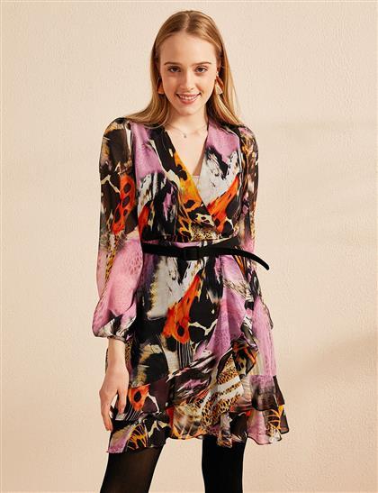 Karışık Desenli Kemerli Kruvaze Yaka Elbise Siyah B20 23016