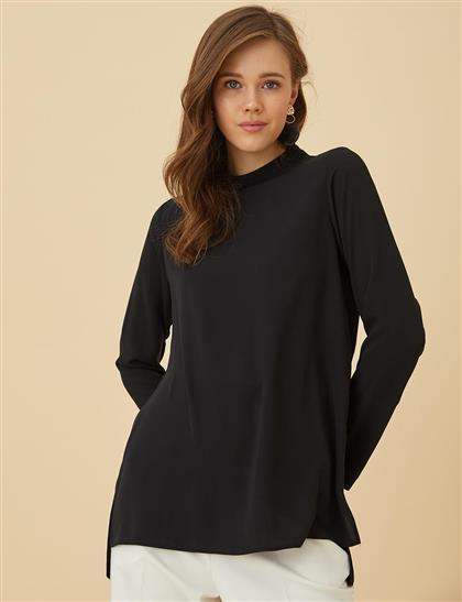 Basic Dik Yaka Bluz Siyah SZ 10500