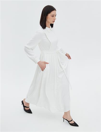 Eteği Pileli İşlemeli Elbise Ekru B20 23003