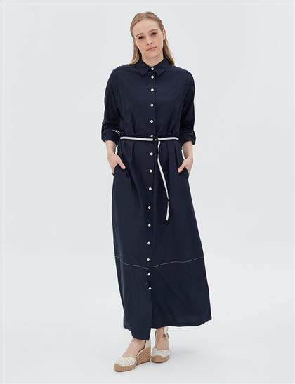 Şeritli Kemer ve Manşet Detaylı Elbise Lacivert B20 23027