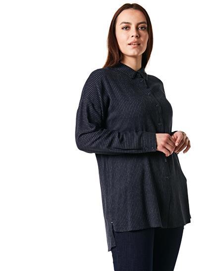 Yakası Şeritli Çizgili Gömlek Lacivert B20 10037