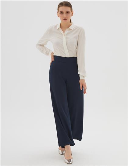 Yüksek Bel Bol Paça Pantolon Lacivert B20 19158