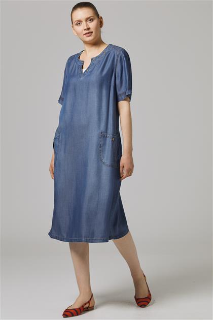 Elbise-Lacivert 7801-17