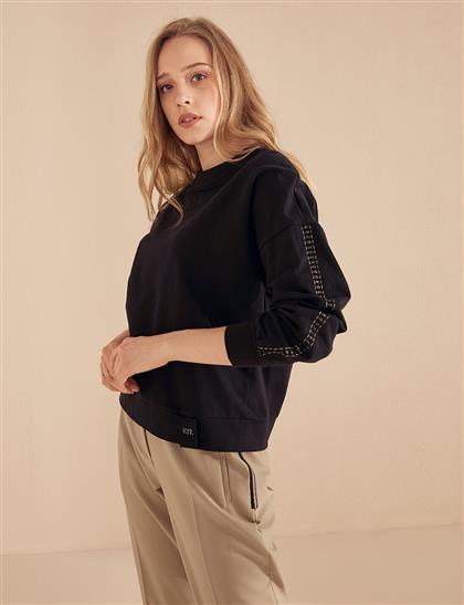 KYR Kolu Detaylı Bluz Siyah B20 70006