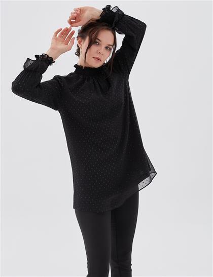 Fırfırlı Şifon Bluz Siyah B20 10009