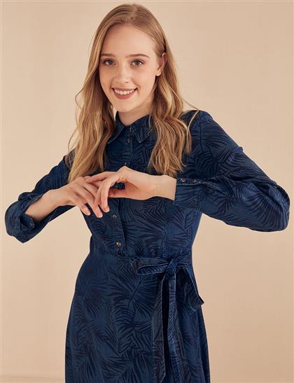 Yaprak Desenli Tensel Elbise Lacivert B20 23066
