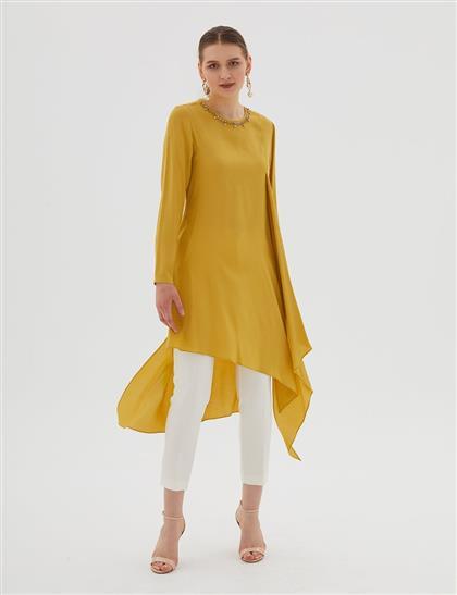 Yakası Taş Süslemeli Asimetrik Kesim Tunik Sarı B20 21018