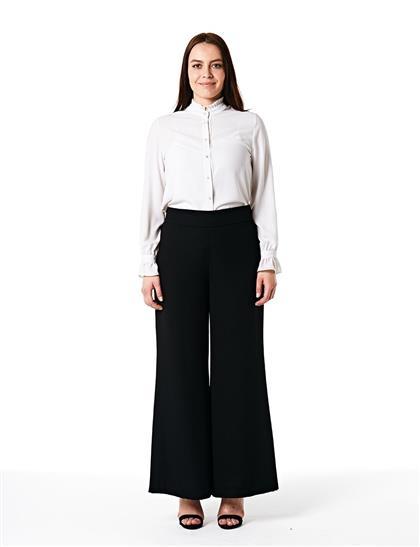 Beli Lastikli Bol Paça Pantolon Siyah B20 19163