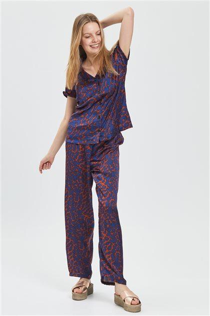 Pajama Set-Blue-Claret Red 1028-17-35