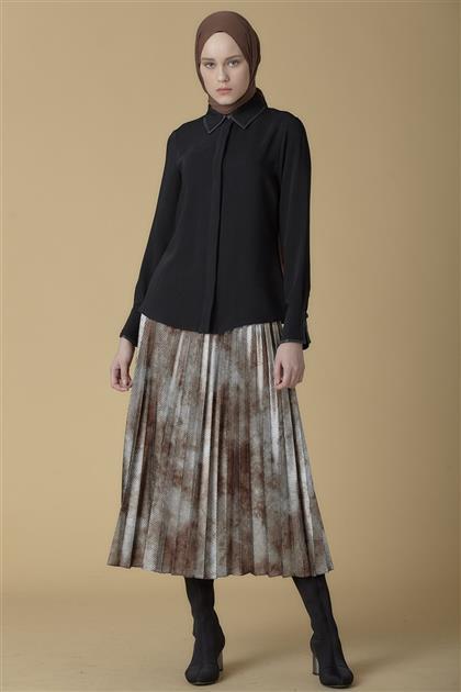 Armine Biye Detaylı Gömlek Siyah 9K3737