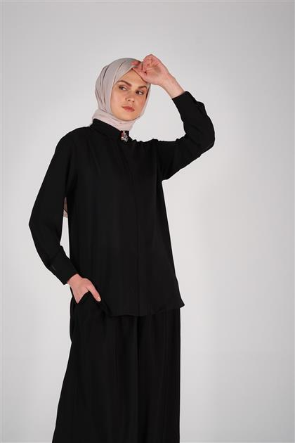 Armine Bol Paça Pantolon Siyah 9Y2732