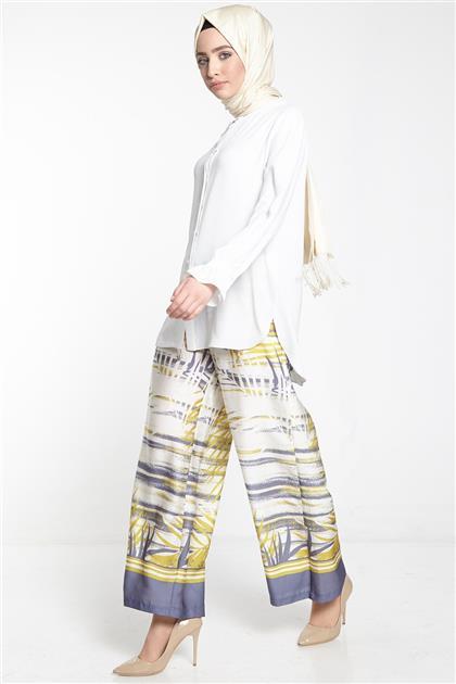 Armine Desenli Bol Paça Pantolon Hardal 8y2527