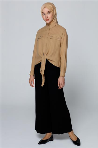 Armine Çizgili Gömlek Camel 20Y3816