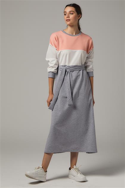 Elbise-Pudra-Gri UU-0S603-41-04