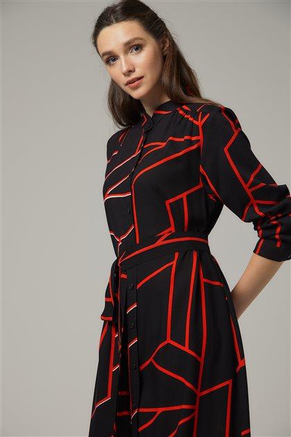Elbise-Sıyah-Kırmızı 20Y1002-01-34