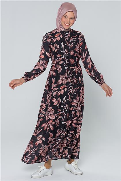 Armine Çiçek Desenli Elbise Kiremit 20Y915