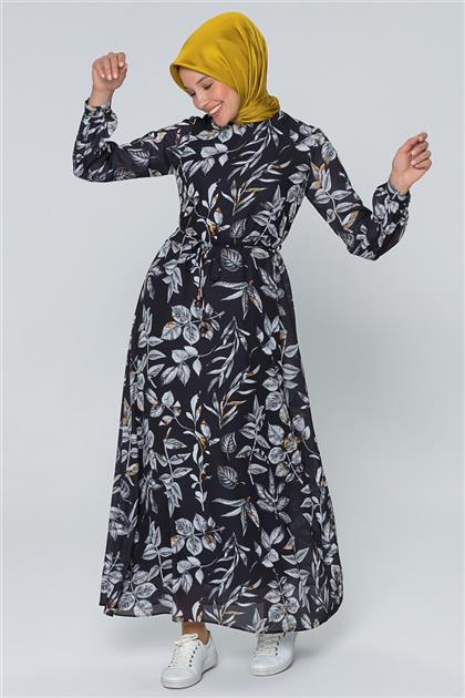 Armine Çiçek Desenli Elbise Siyah 20Y915